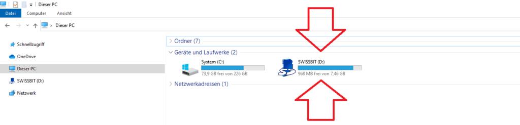 Swissbit TSE-Einheit als Laufwerk