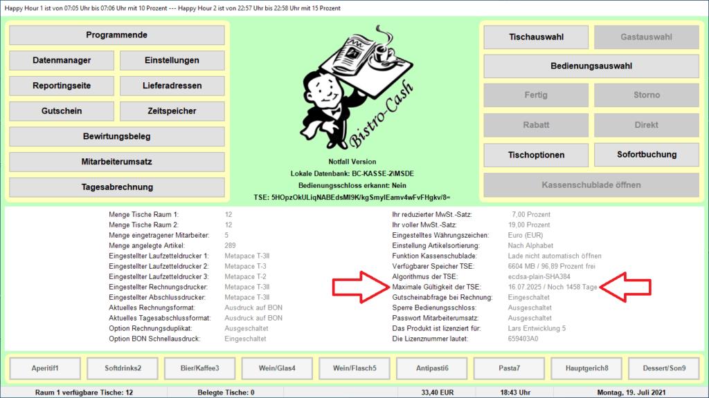 Zertifikatslaufzeit der TSE Bistro-Cash