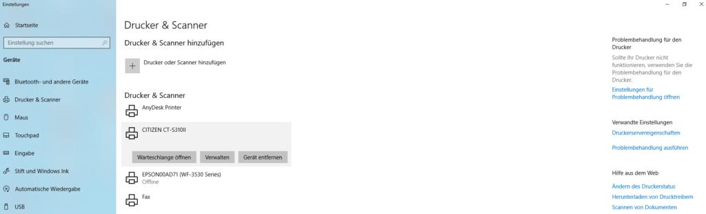 Liste Bondrucker Citizen Windows 10