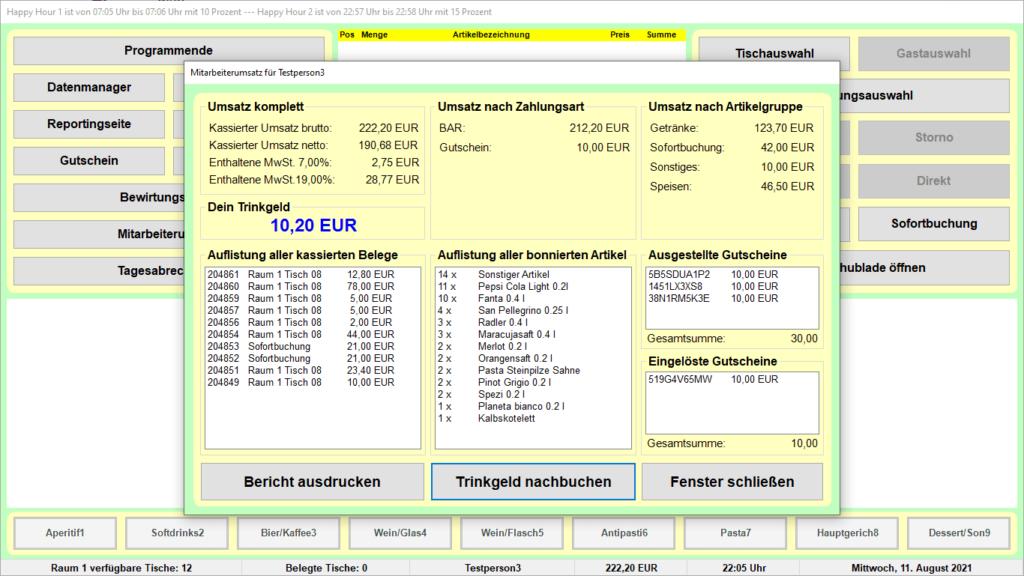Bistro-Cash-Kassensoftware Mitarbeiterumsatz