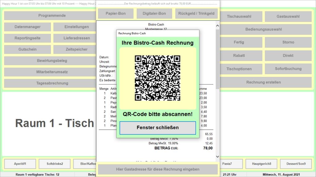 Bistro-Cash-Kassensoftware Online-Beleg