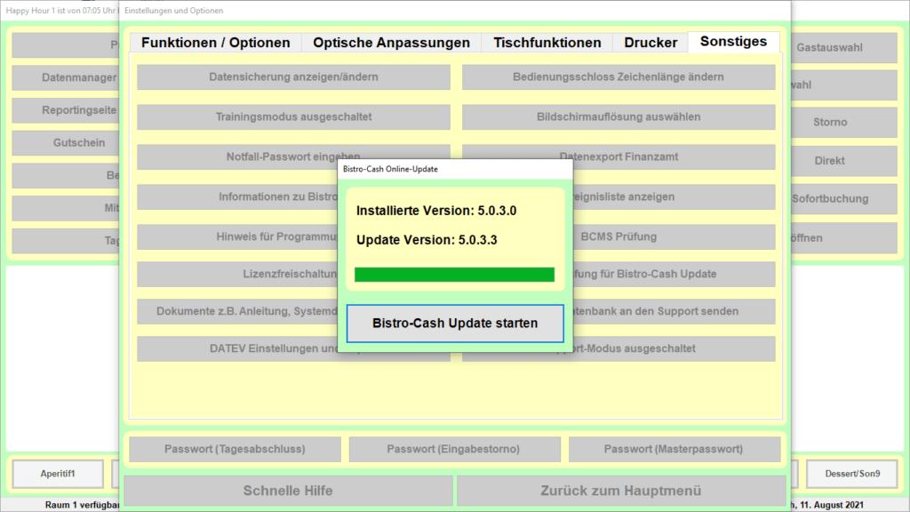 Bistro-Cash-Kassensoftware Update-Funktion