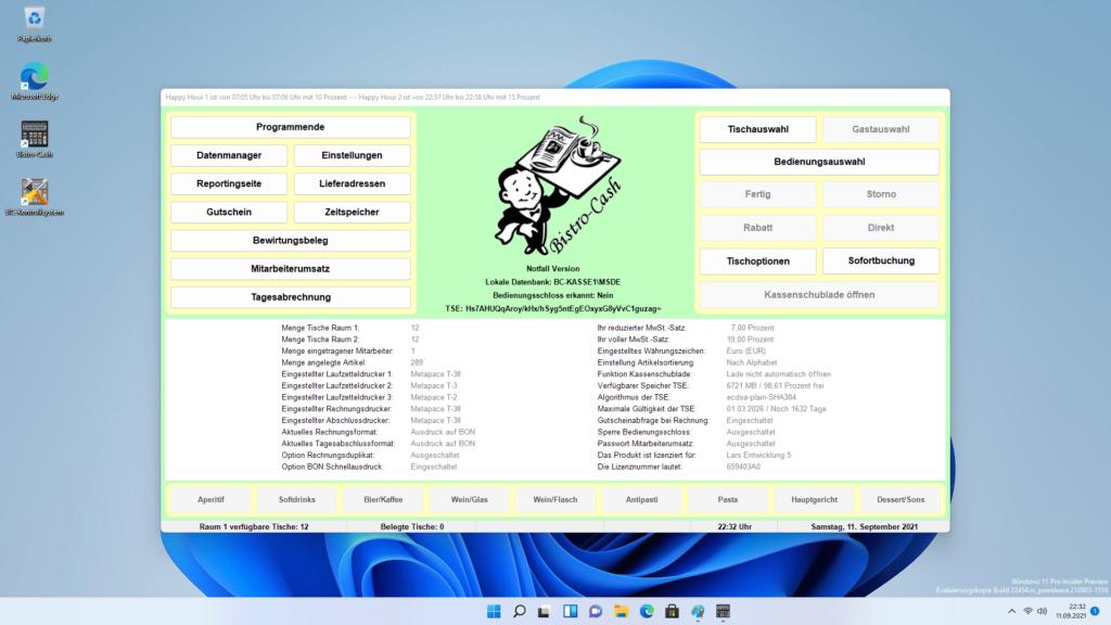 Gastronomie Kassensystem mit Bistro-Cash und Windows 11