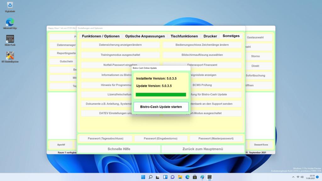 Gastronomie Kassensystem mit Bistro-Cash Windows 11 und Updates